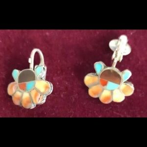 Old Sterling Silver screwPost earrings turquoise